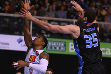 Alex Pledger (right) leads the league by a wide margin with 14 blocks from four games. Photo / Getty Images.