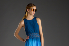 Look number one: Blak Luxe ombre dress with Le Specs sunglasses. Photo / Greg Bowker 
