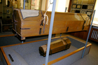 The re-usable coffin instigated in 1784 by Emperor Josef II on display at the Funeral Museum in Vienna, Austria. Picture / Supplied