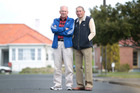Running legends Barry Magee and Bill Baillie on Wainwright Ave, Mt Roskill, where they would start their 22 mile training runs 60 years ago. Photo / Richard Robinson