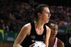 Bailey Mes of the Silver Ferns in action. Photo / Tony Feder