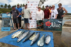 Some of the 24 contestants who weighed barracuda, mahimahi, wahoo and tuna. Photo / Geoff Thomas