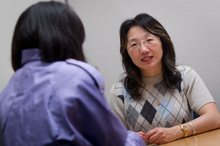 Advocate May Moncur (right) with Jingxin Tian. Photo / Richard Robinson