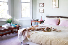 Unique fabrics and plants have been used to give each bedroom its own character. Photo / Your Home and Garden
