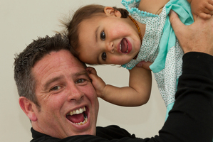 Aaron Gascoigne with daughter Ava, conceived after years of trying. Photo / Brett Phibbs