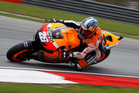 Dani Pedrosa shows the style that took him to the podium.  Photo / AP