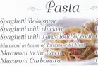 A Pasta menu. Photo / Supplied