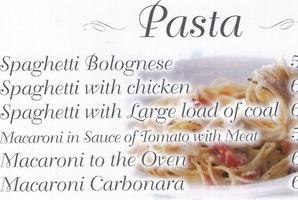 A Pasta menu. Photo / Supplied