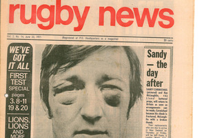 Rugby News'  first issue was in 1971, during the Lions tour, featuring a battered Sandy Carmichael. Photo / Supplied