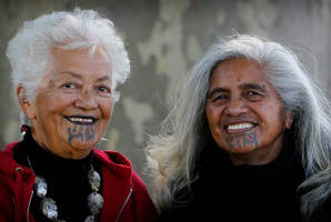 Te Aroha Tai-Rakena (left) and Rangiawatea Tahapeehi are proud to be part of a 50-strong group of women who stand out at traditional Waikato gatherings.  Photo / Christine Cornege