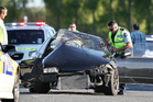 A scene from yesterday's crash in Reporoa. Photo / Ben Fraser