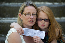 Erin Lauder, 9, has the ticket her mother, Sharon Sweeney-Lauder, gave her, but she can't go to the New Zealand's Got Talent show. Photo / Richard Robinson