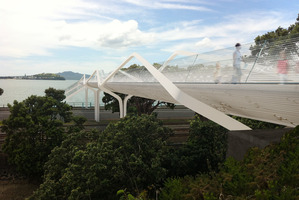 The Parnell Baths will have a safer link to Tamaki Drive when this replacement footbridge is finished. Photo / Supplied