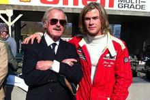 Alastair Caldwell, far left, with Chris Hemsworth on the set of Rush. Photo / Supplied