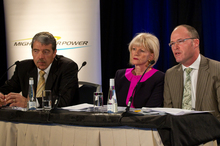(L to R) Mighty River Power CEO Doug Heffernan, Chair Joan Withers and CFO William Meek in front of the media at Rydges hotel in central Auckland this morning. The executives were giving a media bri 