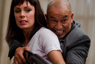 Kate Elliot and Temuera Morrison in a scene from 'Fresh Meat'. Photo / Supplied