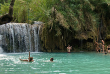 Bathers at Kuang Xi waterfalls near Luang Prabang, Laos. Photo / Supplied