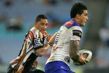 A rare moment with Sonny Bill Williams and Benji Marshall on the pitch together. Photo / Ezra Shaw