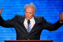 Actor Clint Eastwood addresses the Republican National Convention in Tampa, Florida. Photo / AP