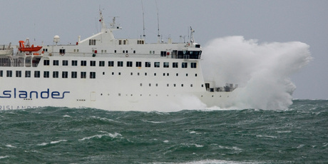 The Interislander ferry Arahura bashes its way across Cook Strait. A new terminal at Clifford Bay in Marlborough would reduce ferry crossing times by 30m.  Photo / Mark Mitchell
