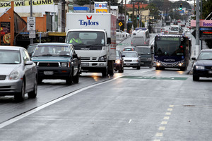 A bus in early morning commuter traffic on Auckland's busy Dominion Road in Sandringham. Photo / Janna Dixon