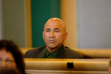Kelly Robertson in the dock before a judge at the Auckland High Court. Photo / File