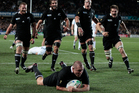 Tony Woodcock's surgical first-half try did little to ease the All Blacks' nerves and the possibility of a shocking repeat of 2007 haunted many of the squad right up to the final whistle.  Photo / Brett Phibbs