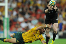 Cory Jane fails to hold the ball in one of the All Blacks' nine knock-ons. Photo / Getty Images