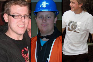 Ben Rockhouse, 21, Josh Ufer, 25, and Joseph Dunbar, 17, who all died in the PIke River mine blast.