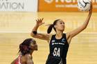 Maria Tutaia secures a pass during the Quad Series match between the New Zealand and England. Photo / Getty Images