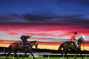 One of the few benefits of rising early is enjoying spectacular sunrises like this, which provided the backdrop to Yosei (right) and Ocean Park at Moonee Valley. Photo / Getty Images