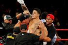 Sonny Bill Williams celebrates his victory over Clarence Tillman III in February. Photo / Christine Cornege