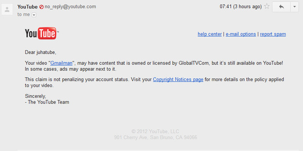 A screenshot from the warning sent to Juha about his upload to YouTube. Photo / Supplied