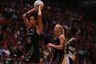 Maria Tutaia shoots during the 2012 Quad Series match between the Silver Ferns and South Africa. Photo / Getty Images