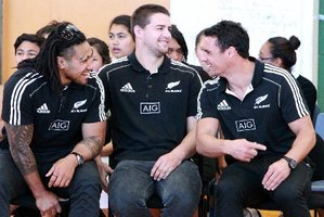 All Black Rugby players Maa Nonu, Dane Coles, Dan Carter pictured have a giggle at Flaxmere College during a visit to Hawke's Bay.