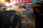 Streets are flooded under the Manhattan Bridge in the Dumbo section of Brooklyn, New York. Photo / AP