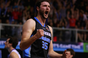 Alex Pledger of the Breakers celebrates Mika Vukona's match winning basket during the round five NBL match between the New Zealand Breakers and the Sydney Kings. Photo / Getty Images.