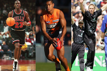 Michael Jordan (L), Israel Folau (C) and Jeff Wilson