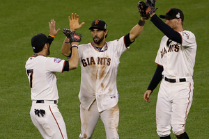 The Giants, who now lead 3-0, became the first team to toss consecutive shutouts in the Series since Baltimore ended 1966 with three straight against the Los Angeles Dodgers. Photo / AP