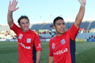 Jeronimo Neumann (L) and Cassio (R) of Adelaide celebrate after the round four A-League match between Adelaide United and the Wellington Phoenix. Photo / Getty Images.