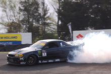 Curt Whittaker and his Toyota-powered Nissan Skyline win Manfeild's drifting season opener. Photo / Blake Lewis