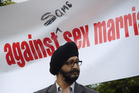 National MP Kanwaljit S Bakshi takes part in an Anti gay marriage protest. Photo / Jason Dorday