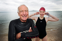 Peter Morley, 78, and Sarah Burmester, 18, at St Heliers Beach, Auckland.  Photo / Doug Sherring