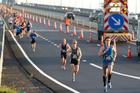 Runners cross the Auckland Harbour Bridge during yesterday's marathon. Photo / Richard Robinson