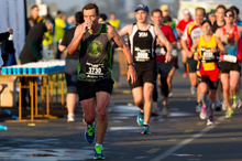 Runners in action on the Auckland Harbour bridge. Photo / Richard Robinson