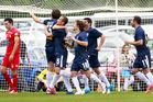Auckland City celebrate their first - and only - goal of the match, scored by Ivan Vicelich. Photo / Natalie Slade