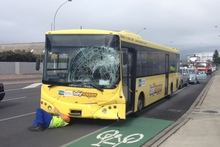 The bus involved in this morning's accident. Photo/ Alan Gibson