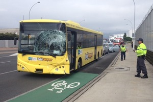 The bus had children on board at the time of the crash. Photo / Alan Gibson
