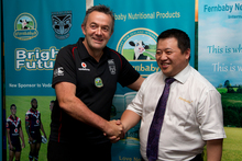 Warriors chief executive Wayne Scurrah and Fernbaby managing director Tianxi Shao at the announcement of the Warriors' new sponsorship deal. Photo / Brett Phibbs 