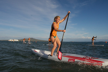 Stand up paddle boarding (SUP) is the most popular event at the Jetts City to Surf in Mission Bay. Photo / Supplied